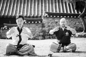 Master Harry training with Master Han in South Korea in 2018